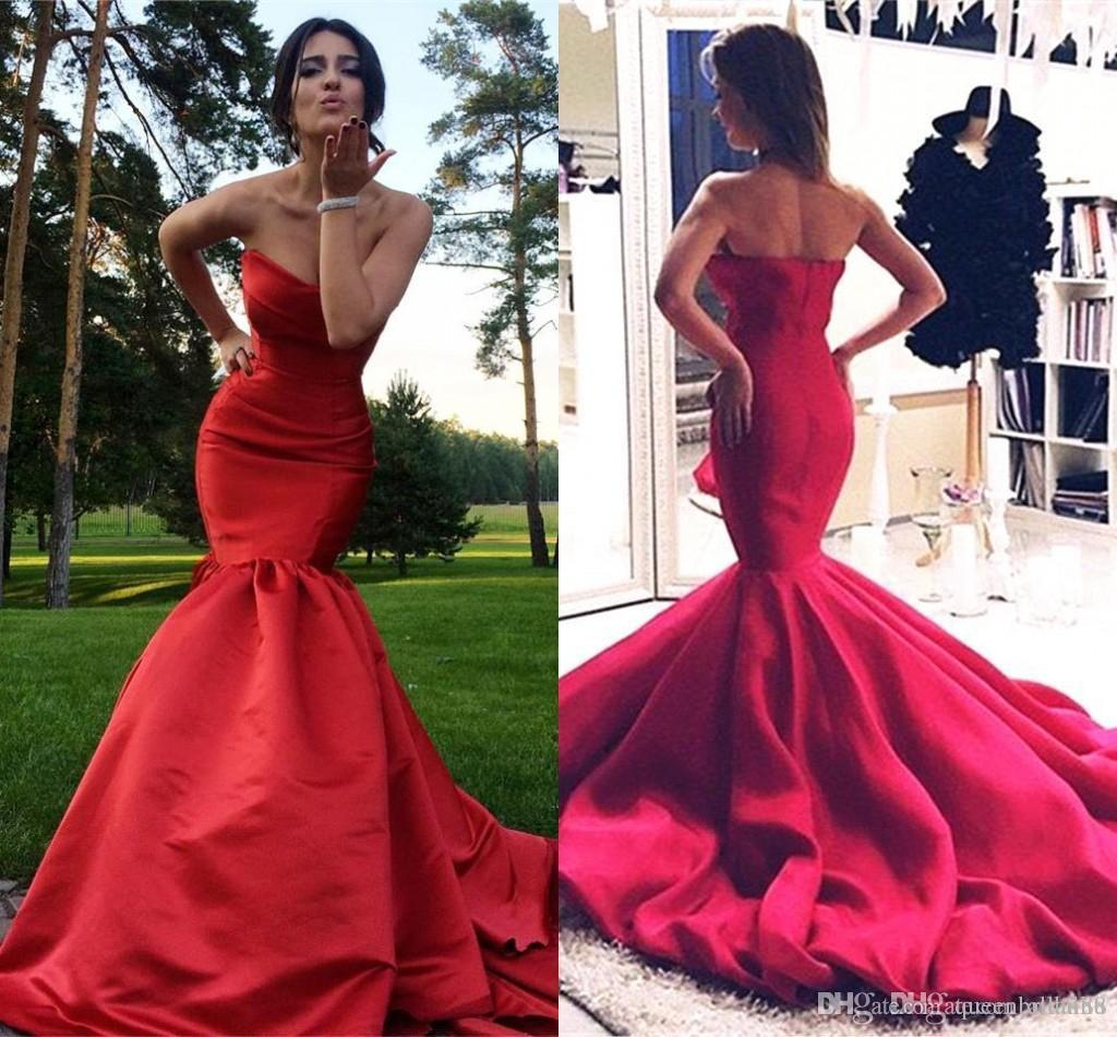 Simple Sweetheart Mermaid Dresses Evening Wear Zipper Back Sleeveless Long Sweep Miad of Honor Party Prom Gowns