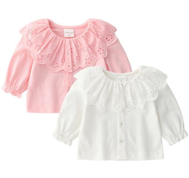 36d2006df Ropa de bebé niña camisa de encaje superior ahueca hacia fuera el cuello de  la cacerola del animal doméstico de manga larga color sólido 100% ...