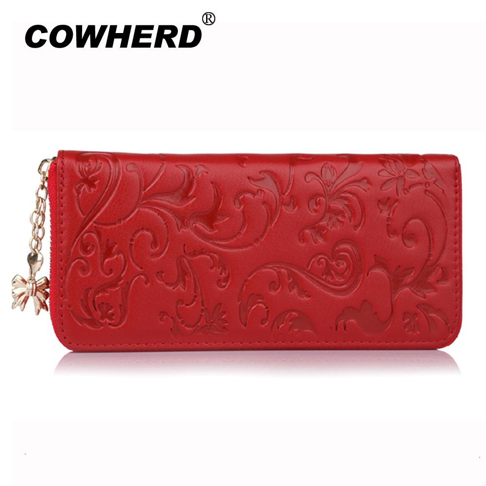 593db03294 COWHERD Fashion Genuine Leather Long Purse Flower Embossing Female Zipper  Wallet Money Clips Women Card Purse Bag S915 Lost Wallet Cheap Wallets From  ...