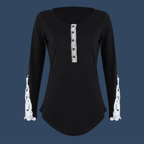 99c420b9c5 Ladies Round Neck Button Floral Top Solid Black Striped Plus Size Women  Casual Autumn Long Sleeve Pullover T Shirts Nerd T Shirts Design Shirt From  ...