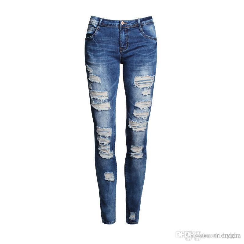 9d031ec484b Compre Venta Al Por Mayor Boyfriend Jeans Mujer Pantalones Lápiz Pantalones  Damas Casual Estiramiento Skinny Jeans Mujer Media Cintura Elástica  Agujeros ...