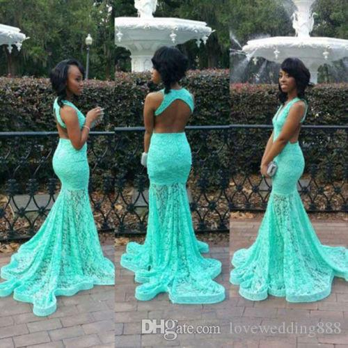 African Turquoise Green Lace Long Prom Dresses Mermaid V Neck Sweep Train Formal Evening Wear Gown 2018