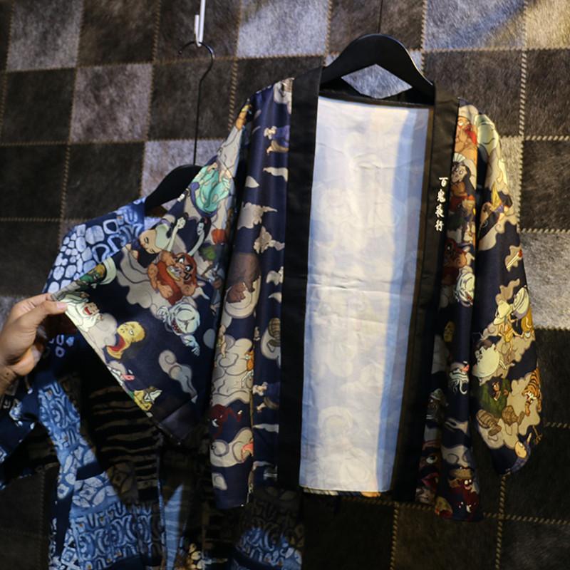 2017 мода женщин кимоно японский Винтаж новинка аниме печати кардиган кимоно блузка рубашка топы женская одежда верхняя одежда