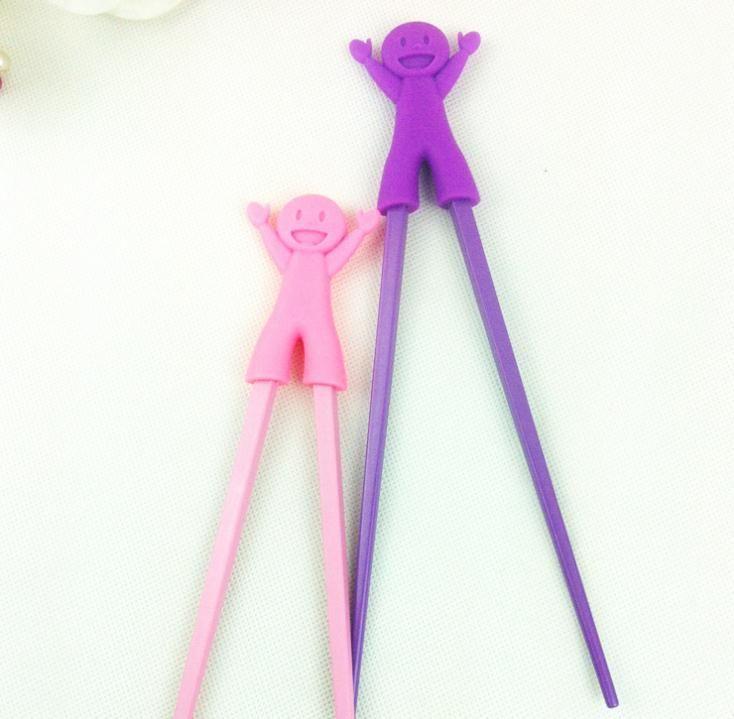 çocuk Plastik Çubuklarını Çocuk Öğrenme Yardımcısı Eğitim Öğrenme Mutlu Plastik Oyuncak Chopstick Eğlenceli Bebek Bebek Acemi SN215