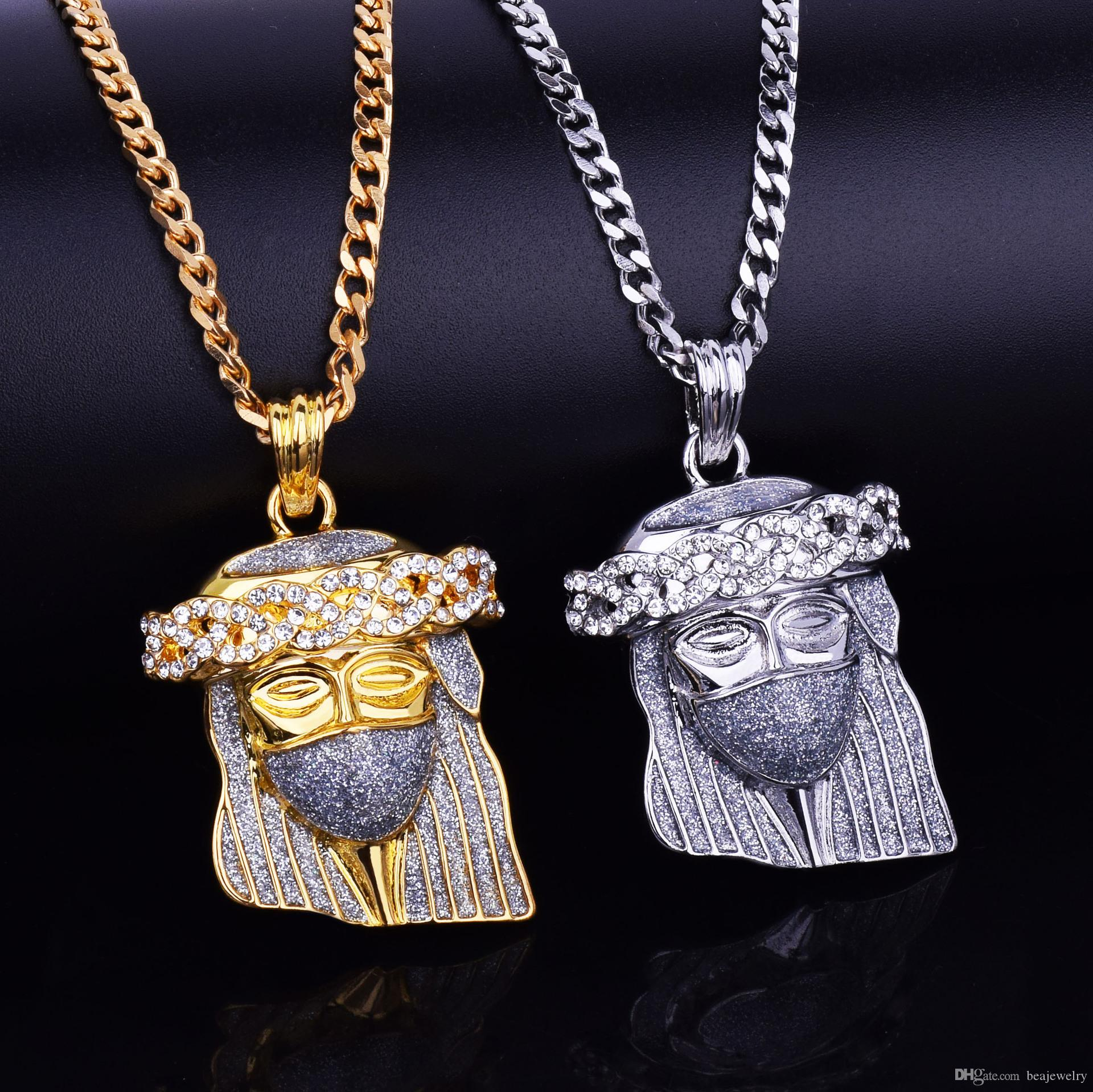 Wholesale silver gold color hip hop mask jesus pendant necklace with wholesale silver gold color hip hop mask jesus pendant necklace with 275inch long cuban link chain for men necklaces jewelry silver pendants from aloadofball Image collections