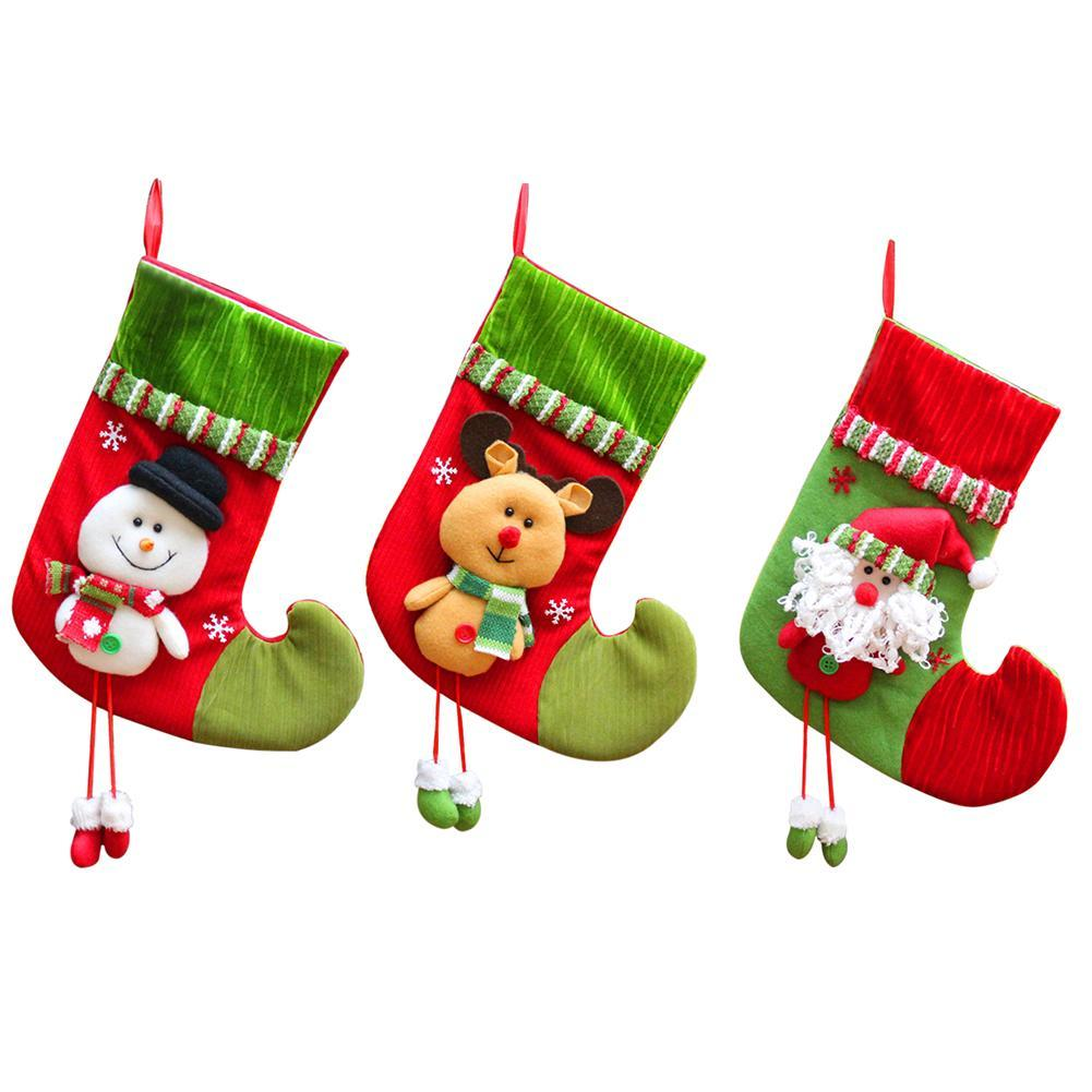 b1a010f33 2018 New Christmas Red & Green Stocking Gift Bag Christmas Pendant Ornament  Elf Santa Claus Snowman Candy Bag Elegant Christmas Decorations Exclusive  ...