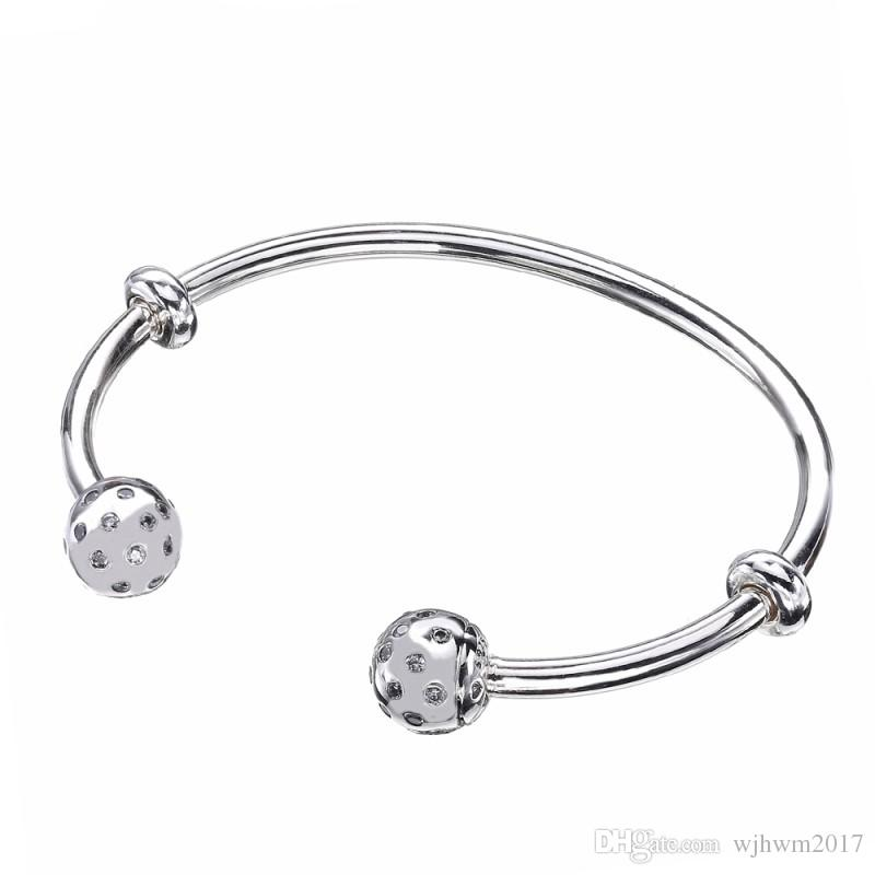 588eef95900 New Authentic 925 Sterling Silver Jewelry Bead Moments Open Bangle Bracelet  With Crystal & 2 Stoppers Fit DIY Pan Beads Bangles Latest Designs Of Gold  ...