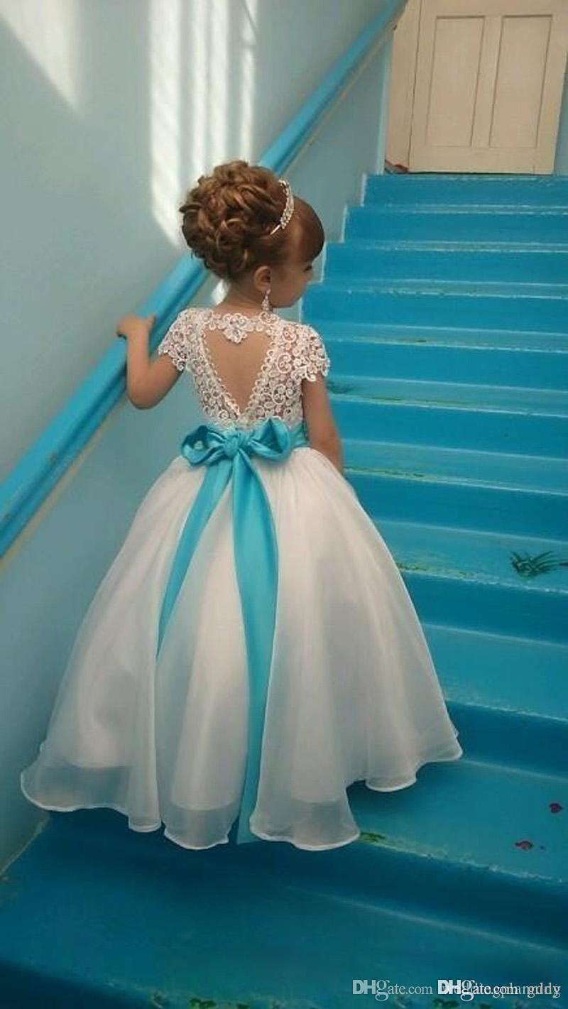 Vestidos para niña de flores Mangas casquillo Niña Fiesta de cumpleaños Vestidos de comunión de navidad Vestidos de fiesta para niña