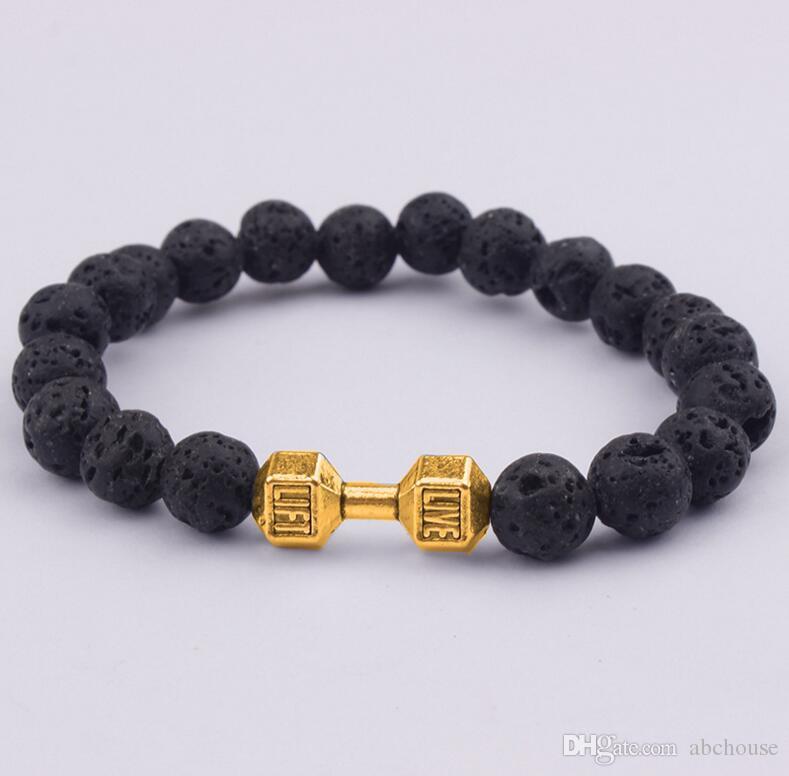 Мужская подарок Оптовая новое прибытие сплава металла штанга Лава рок камень бусины фитнес мода гантели браслеты 30 шт.