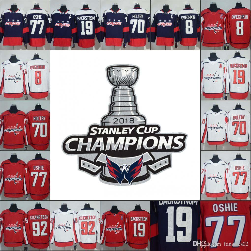 064448177 2019 2018 Stanley Cup Champions Men Women Kid Hockey Jersey 8 Alex Ovechkin  77 T.J. Oshie 19 Nicklas Backstrom 70 Braden Holtby 92 Kuznetsov From  Fanatics02 ...
