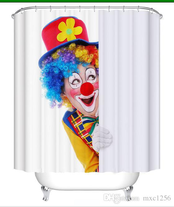 2019 ClownChildren Favourite Bathroom Cartoon Shower CurtainsFabric CurtainThin Curtain 12 Hooks12 RingsWaterproof180cm 7171 From Mxc1256