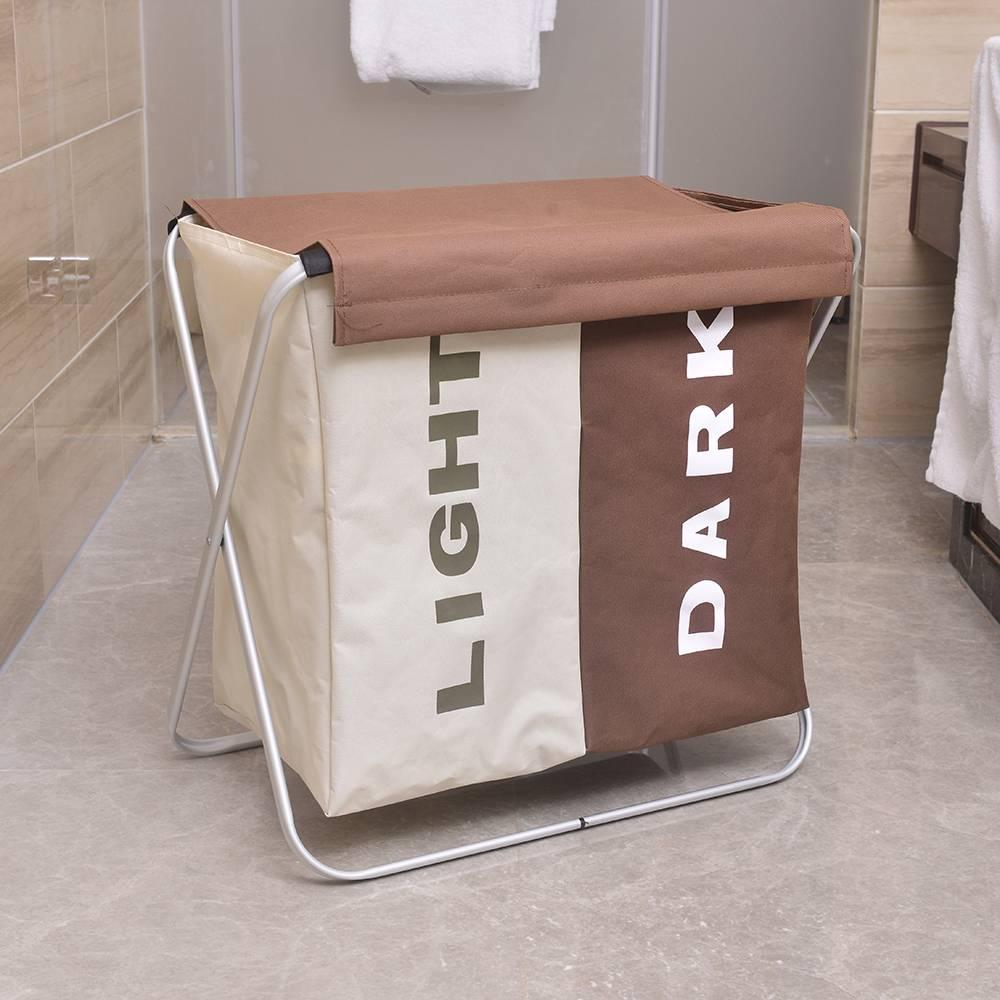 Portable Double Lattice Laundry Basket Light Coffee And Dark Coffee