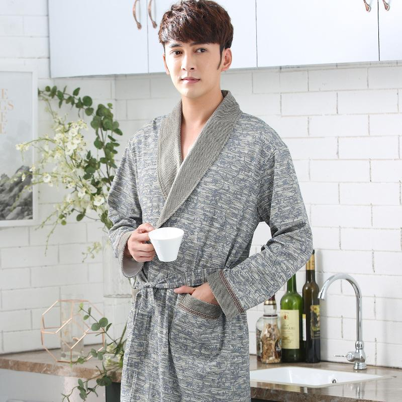 39fa8d05a6 Straight For Nightgown Men S Spring Autumn Cotton Long Sleeved Bathrobe  Home Clothes