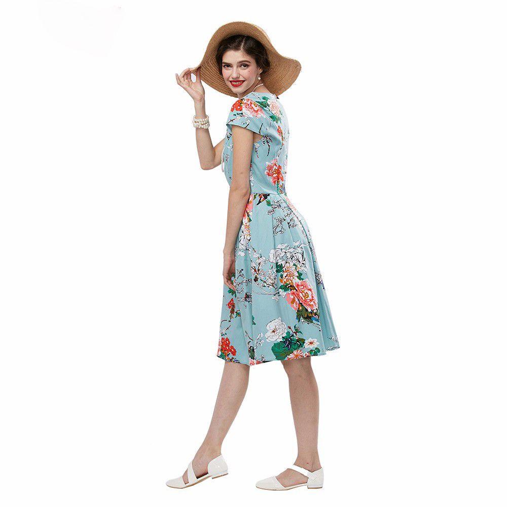 Partykleider Sommer Frauen Hellblau Audrey Hepburn 50er Jahre Vintage Blume Print Robe Feminino Ball Kleid Retro Kleid Vestidos Plus Größe S-4XL