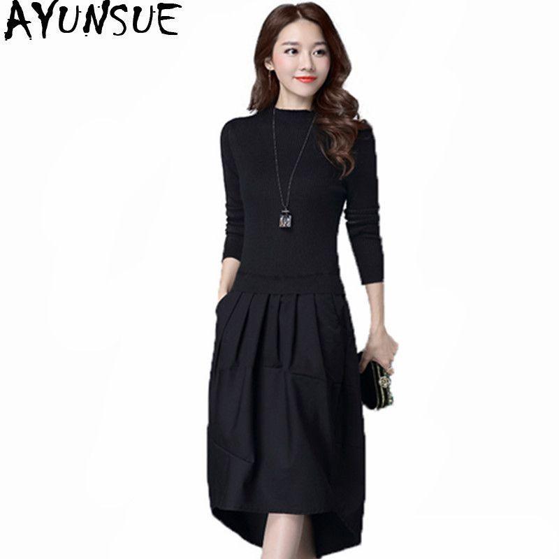 AYUNSUE 2018 Autumn Women S Dresses Female Black Knitted Dress Elegant Winter  Womens Clothing Slim Sweater Dress Vestidos WXF516 D18102903 UK 2019 From  ... d53ff23e7
