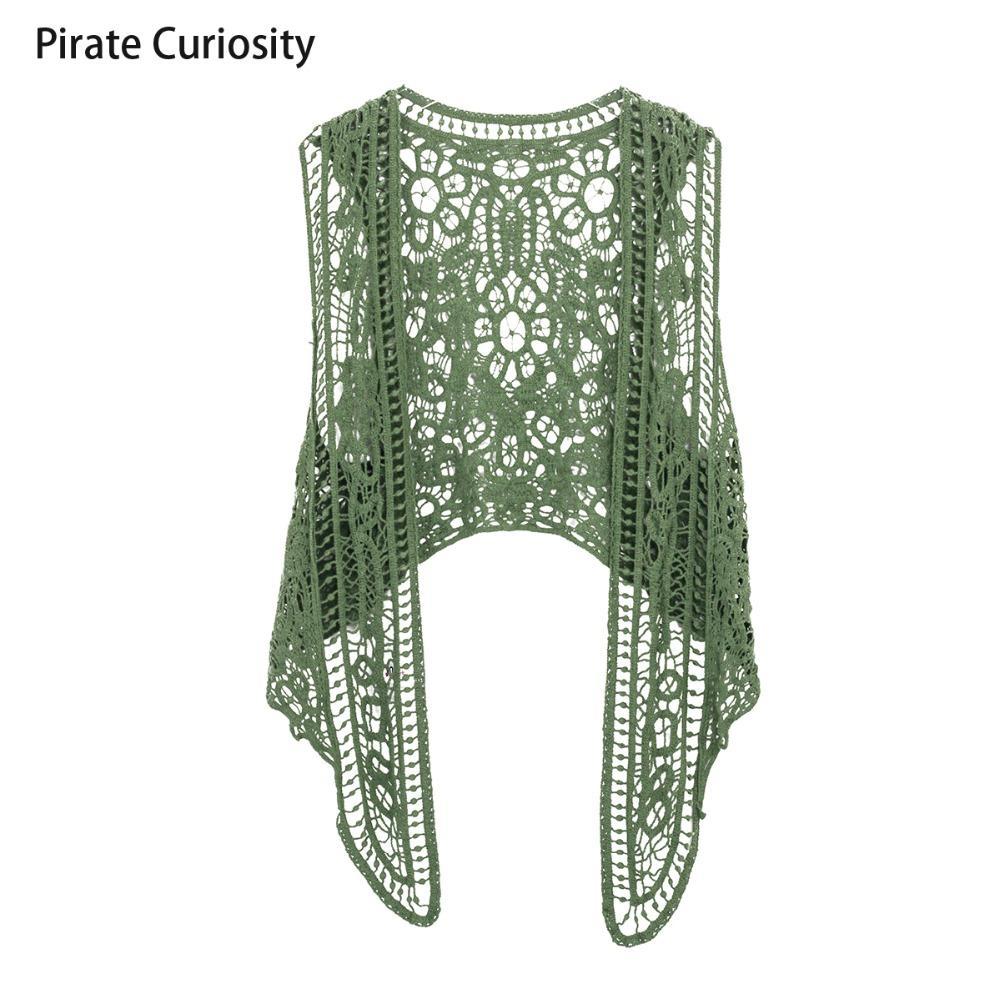 Compre Pirata Curiosidad Con Cuello En V Algodón Crochet Tejido De ...