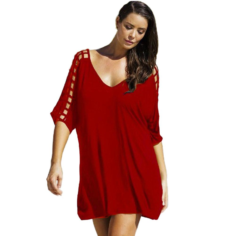 b1851a97a4 Sexy Women Oversized Deep V Neck Dress Hollow Out Pareo Half Sleeves Loose  Bikini Cover Ups Shift Casual Mini Dress Beachwear Black Dress Cocktail  Party ...