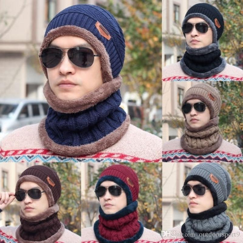 55b3cbd4c1 Neck warmer winter hat knit cap scarf cap Winter Hats For men knitted hat  men Beanie Knit Hat Skullies Beanies