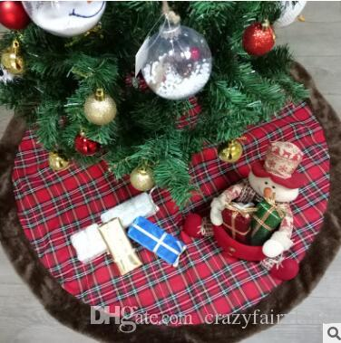 42 inch plaid christmas tree skirt faux fur plaid tree skirt double layers christmas tree skirt luxury xmas holiday decorations pet favors christmas home