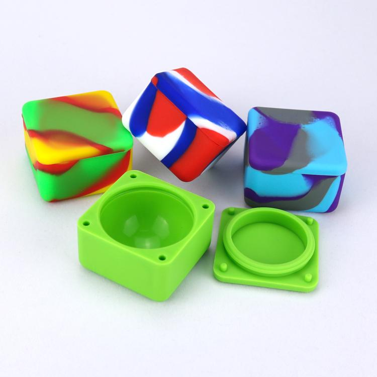 Nonstick Wax Containers Silicone Box 37ml Silicon Container Big Square Food Grade Wax Jars Dab Dabber Tool Large Jar Oil Holder for Vape