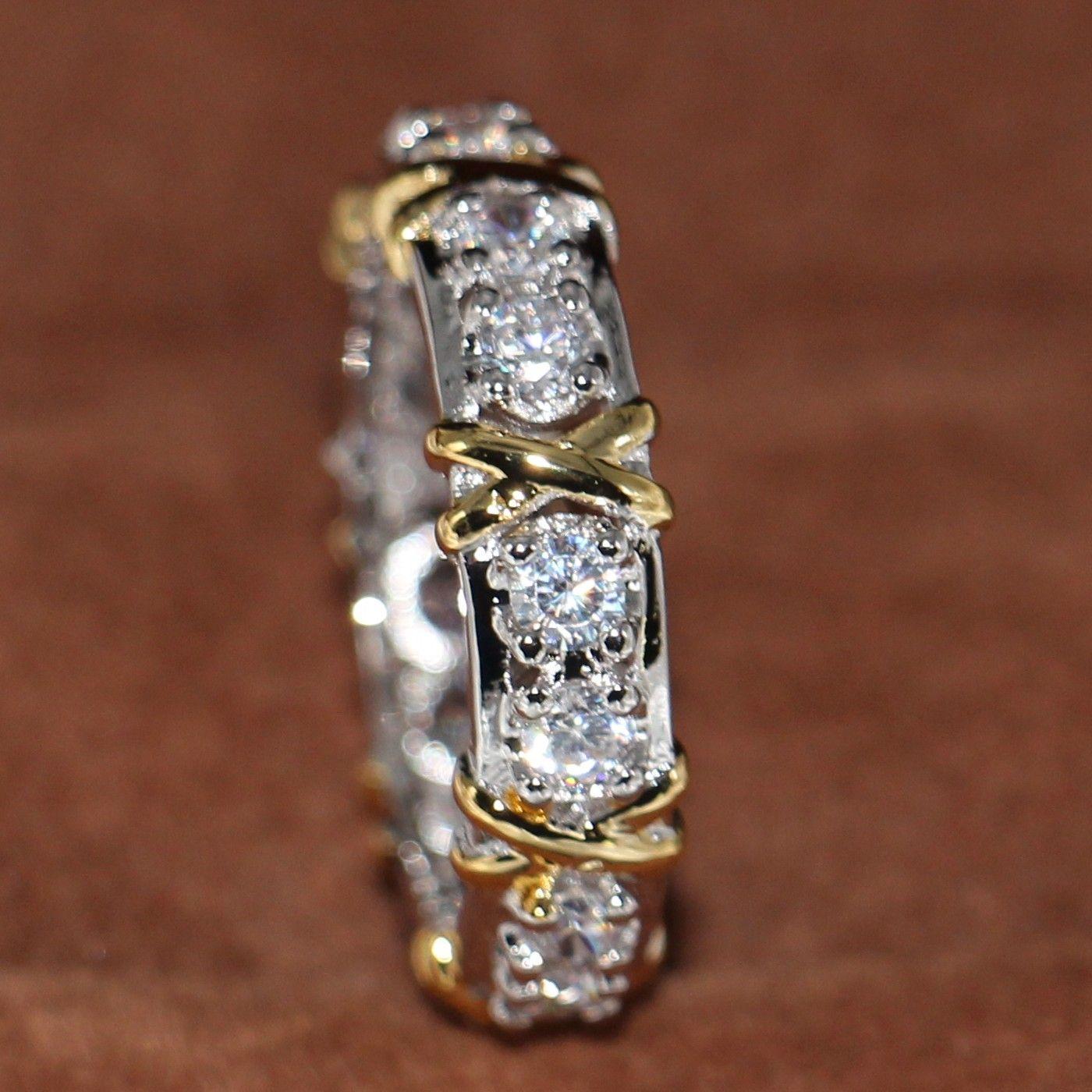 Großhandelsberufs-Ewigkeit Diamonique CZ simulierte Diamant 10KT WhiteYellow Gold füllte Hochzeits-Band-Kreuz-Ring-Größe 5-11