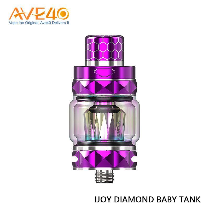 100% original IJOY Diamond Baby Subohm Tank 4 ml con 2 ml de tubo de vidrio regular 510 Punta de goteo de resina ideal para 225W Diamond Mini MOD