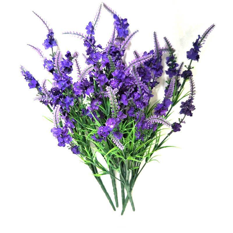 Cabeças de Seda De Lavanda Flor Artificial Bouquets De Seda Vivid Romântico Flores Para O Casamento Decoração de Mesa Presente Da Decoração Para Casa Roxo Escuro