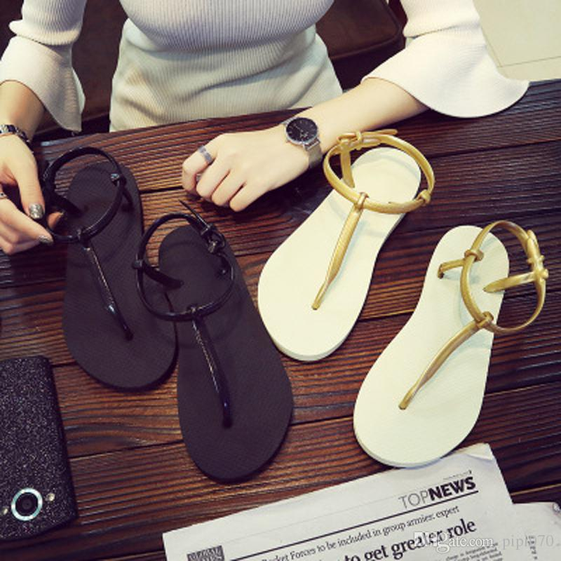 caa6f9a2d4d 2019 Hot Korean Women S Home Sandals Fashion Wild Roman Women S Sandals  Flat Bottom Pinch Beach Flip Flops Shoes From Pipi070