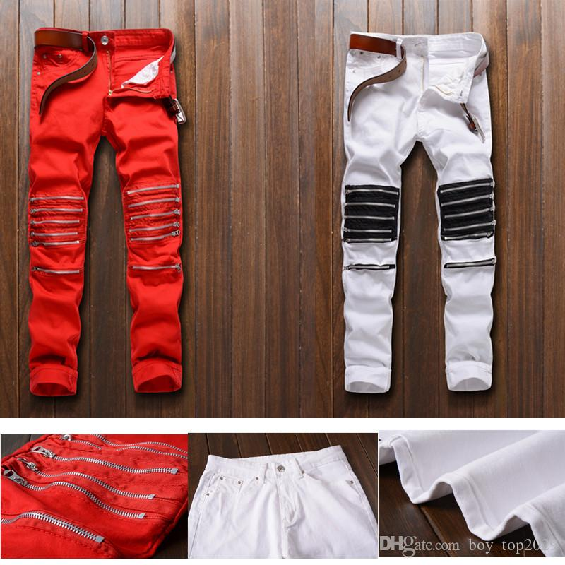 Nightclubs Explosion Models Men Hole Knee Multiple Zip Cut Rotten Elasticity Casual pants Hot Fashion Pants