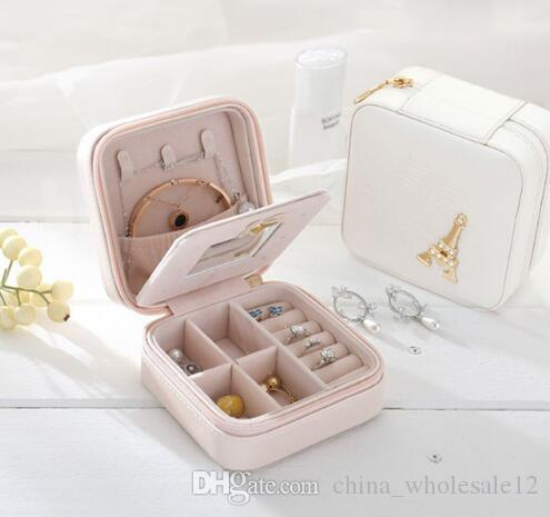 c8ef13a344e5 Travel jewelry box cosmetic makeup organizer packaging Boxes earrings  storage Casket Container Graduation gift for girls