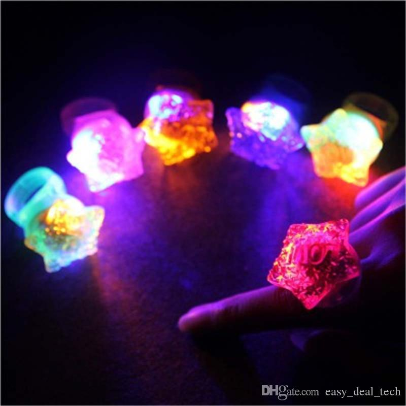 LED Light Flashing Star Finger Ring Elastic Rubber Ring Event Party Supplies Glow Toys For Kids Children H390