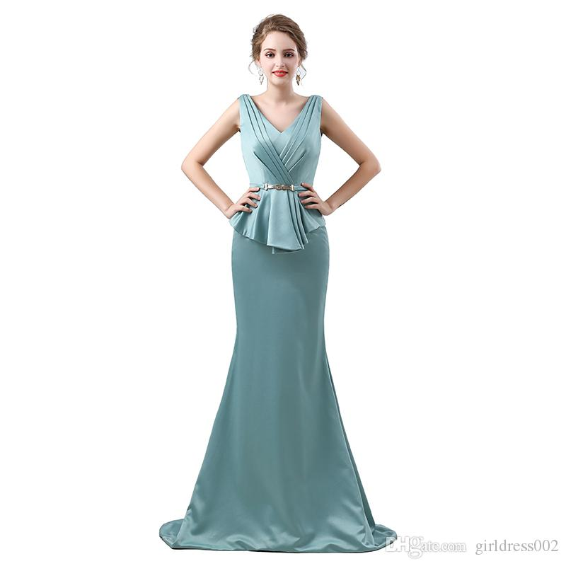 Plus Size Green 2017 Mother Of The Bride Dresses Mermaid V Neck Long ...