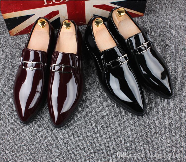 2018 Hot Style Fashion Luxus Herren Lackleder Schuhe Aus Echtem Leder Schwarz Formale Männer Kleid Schuh Hochzeit Business Schuhe N268