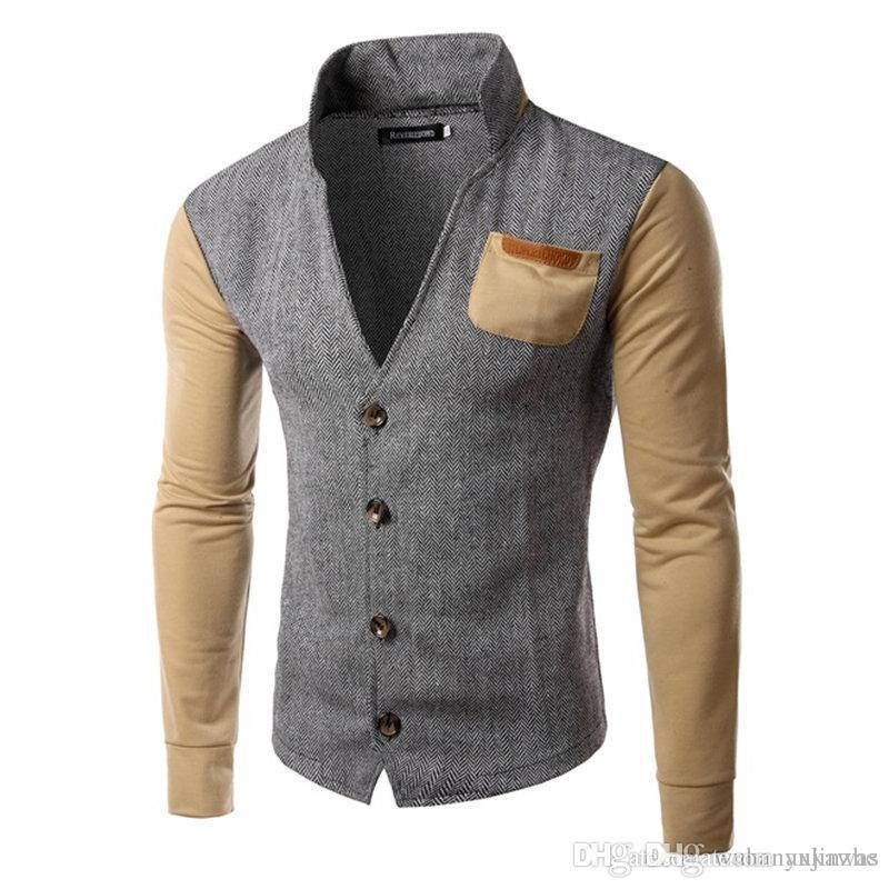 Schnäppchen für Mode letzter Rabatt Kauf authentisch Mens Cardigan Pullover Herren Stehkragen Lange Ärmel schlanke feste Herren  Farbe Nähte Marke Mode lässig Strickjacke Pullover DH118