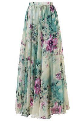 09e2a5f1662a9 Women Chiffon Vintage Skirt women Summer Pleated Floral Printed Women  Flared Saias Vestidos SunDress Beach Long Maxi Skirt free shipping