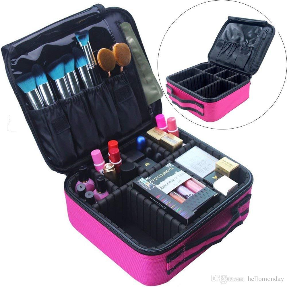 2018 Travel Makeup Train Case Makeup Cosmetic Case Organizer Portable  Artist Storage Bag With Adjustable Dividers For Cosmetics Makeup Brushes  From ...