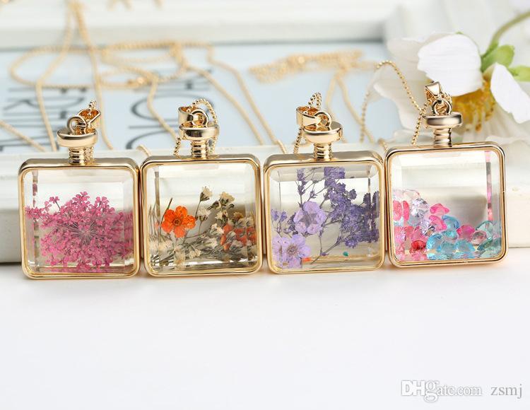 14 Farben Float Medaillons Trockene Blume Anhänger Kristall Glas Cabochon Dome Anhänger Halskette Halsreifen Modeschmuck