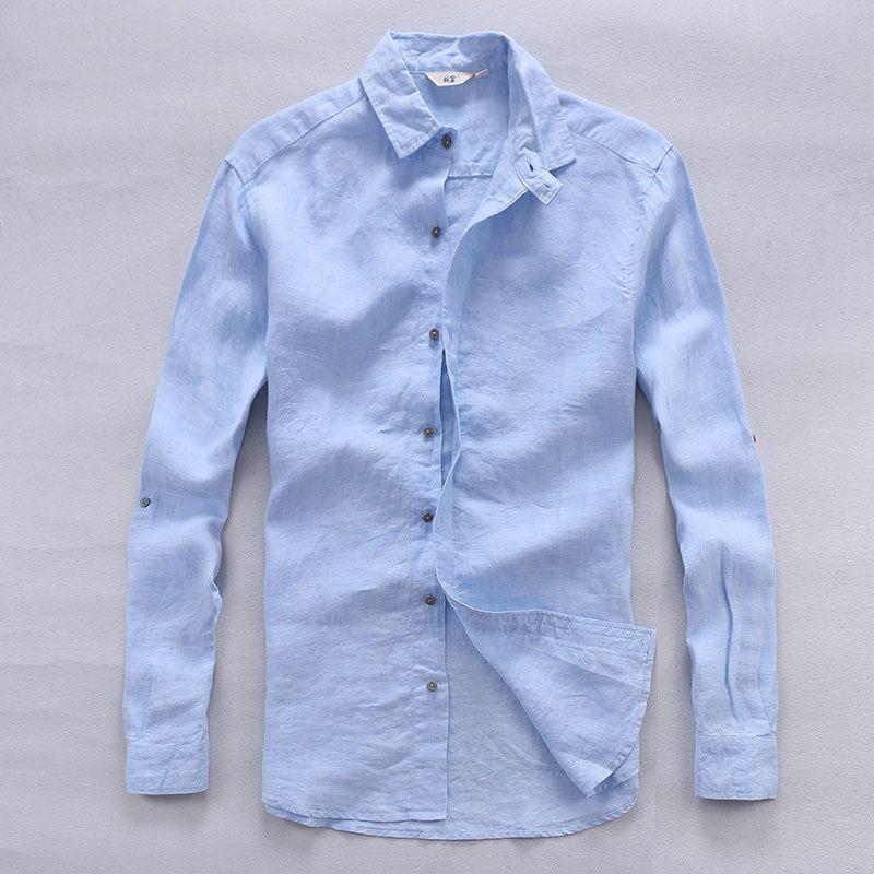 Compre Italia Diseñador De Camisas De Lino Puro Hombres Verano De Manga  Larga Camisa De Los Hombres Camisa Casual Sólido Hombre Camisa De Marca  Clásica Mens ... c2b15bb6d75d7