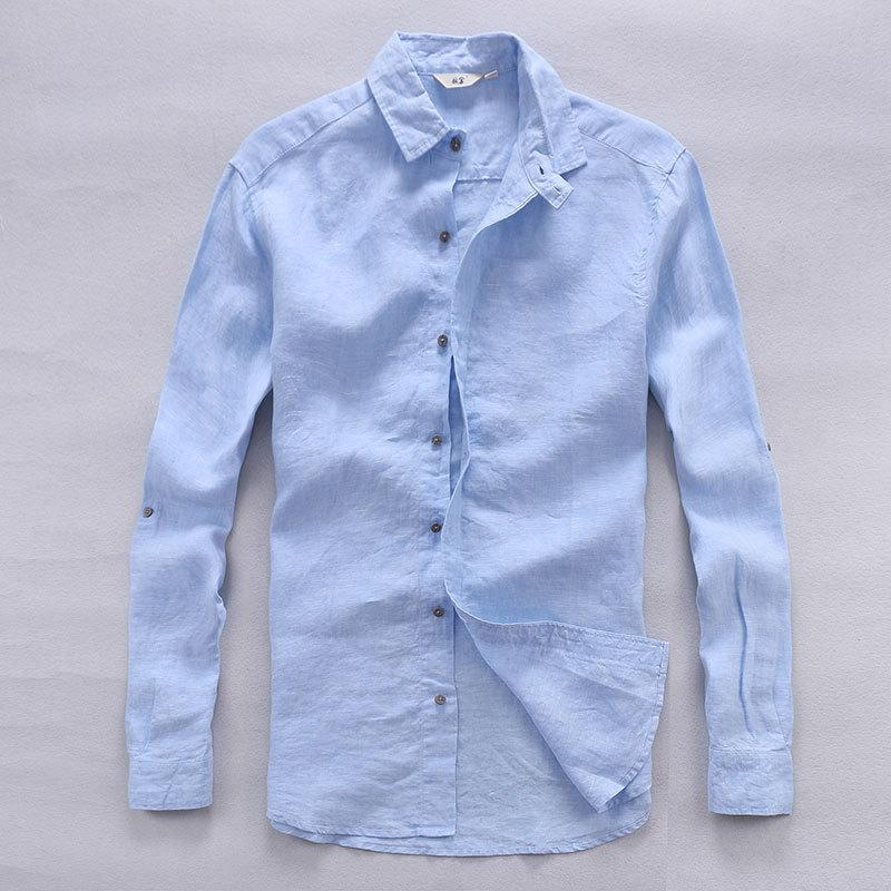d0c3146673a8 2019 Italy Designer Pure Linen Shirts Men Summer Long Sleeve Men Shirt  Solid Casual Shirts Man Classic Brand Shirt Mens Flax Chemise From Geraldi
