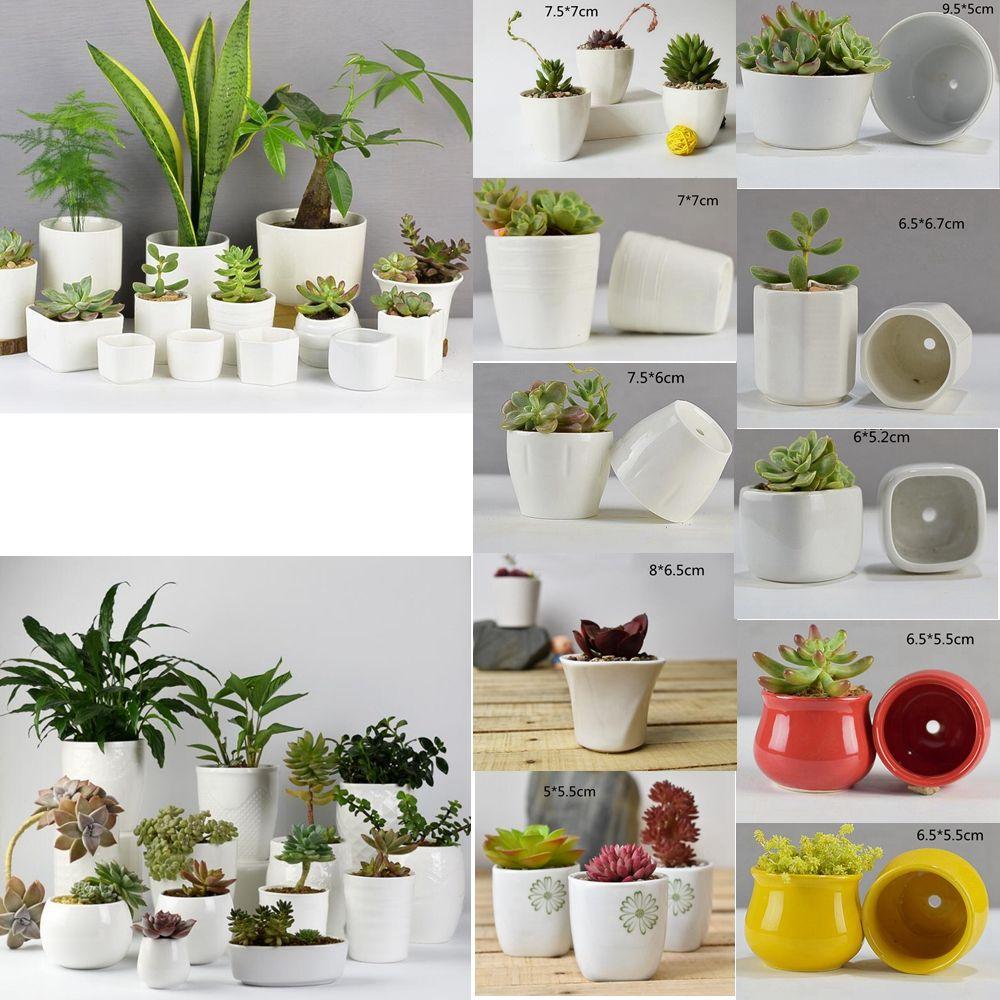 2019 10 Styles Ceramic Succulent Plant Pots Hexagon Decorative