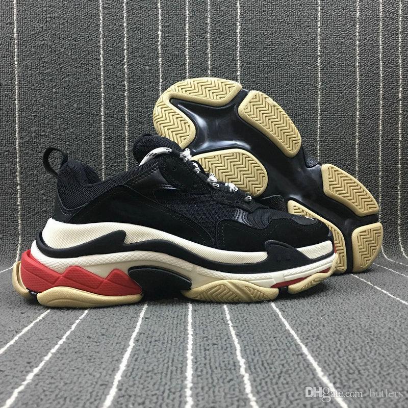 Acheter New Hommes Triple S Pas Cher 2018 Mode De Luxe Chaussette Femme  Sneaker Meilleure Qualité Couleurs Mélangées Talon Épais Noir Rouge Gris  Chaussures ... e7c912e402c