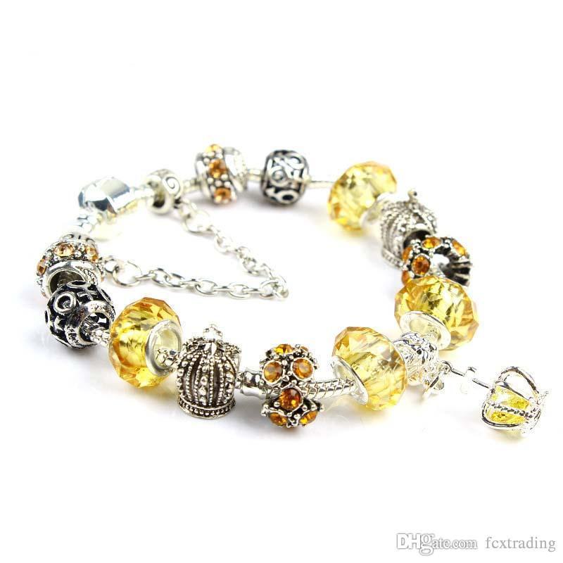 18 19 20 21cm Charme Pulseira 925 Pulseiras de Prata Banhado Royal Crown Acessórios Roxo Cristal Bead DIY Jóias de Casamento Com Caixa