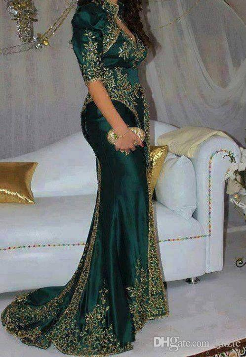 DARK Green Bead Sequins Luxury Arabic Evening Dresses Indian Sexy Evening Gowns High Neck Half Sleeve Mermaid Gorgeous Prom Dress Party Gown