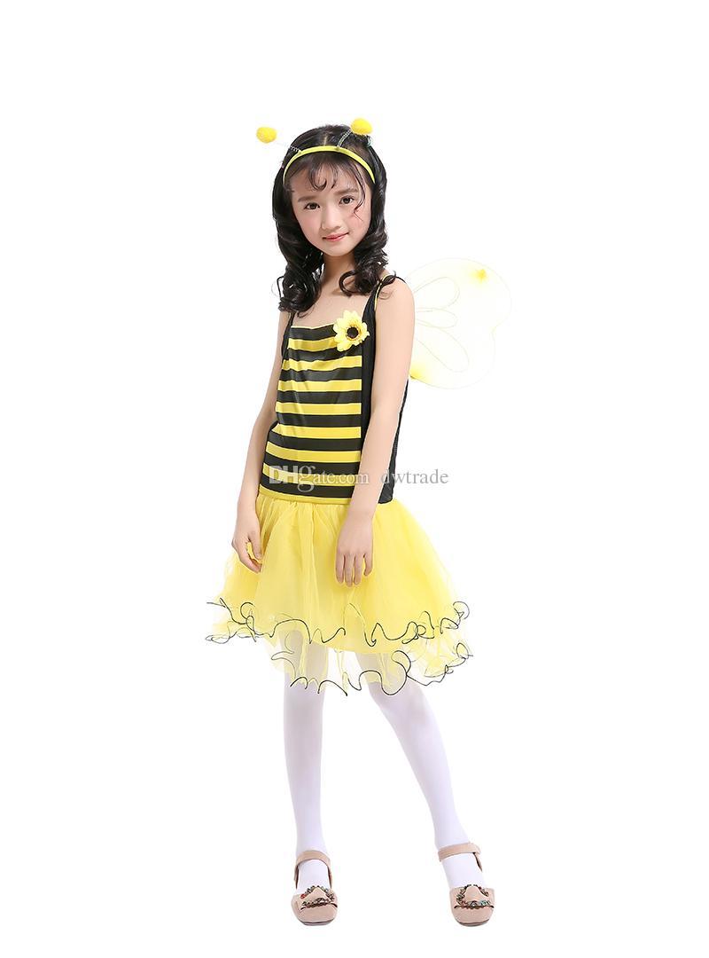 Le ragazze Little Bee Siling Dress giallo Tutu patchwork giallo con ala gialla + fascia principessa abito abiti bambini Cosplay abbigliamento