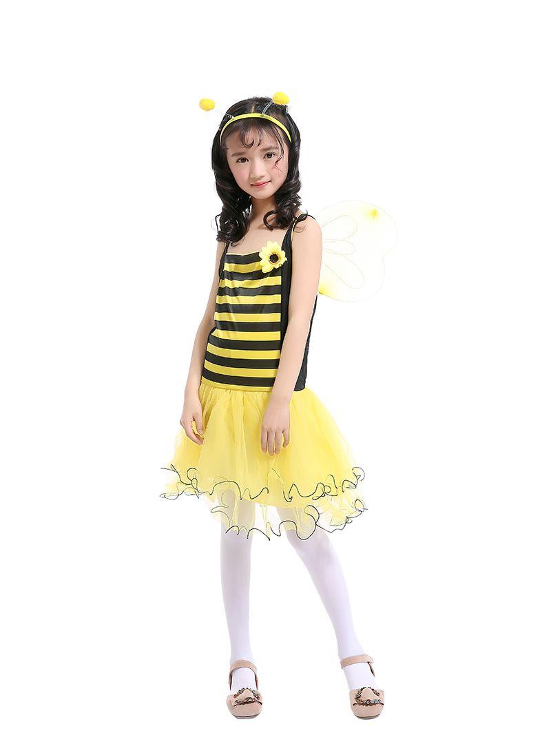 Девочки Пчелка Siling платье желтый пэчворк Туту юбка с желтым крылом+ оголовье Принцесса платье костюмы детский день косплей одежда