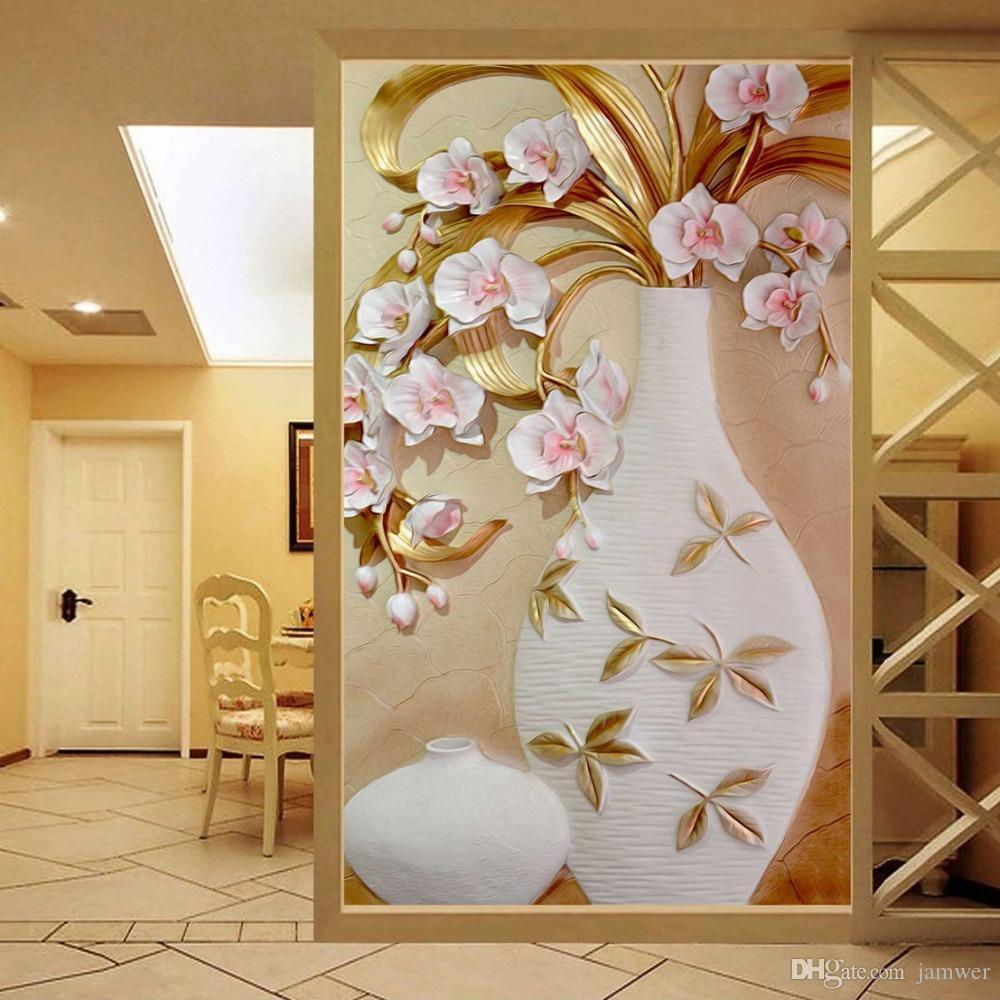 Charming Custom 3d Mural Wallpaper Embossed Flower Vase Stereoscopic Entrance Wall  Mural Designs Home Decor Wallpaper Living Room Modern Widescreen Wallpapers  ...