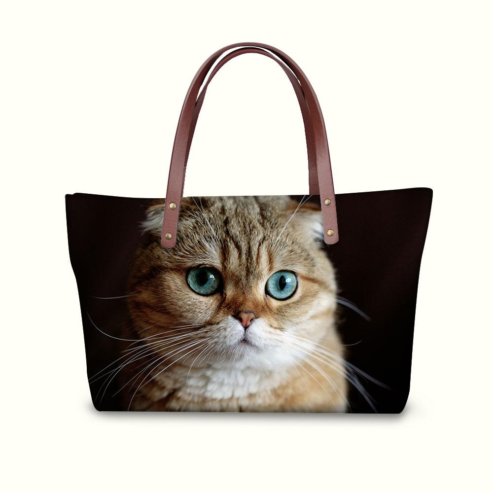 Women Shoulder Bags Scottish Fold Cat Female Handbags Girls Large Messenger  Crossbody Bag Lady Tote Bags with Wallets