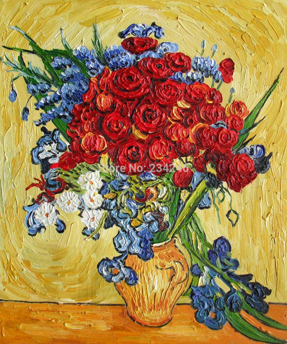 2018 Poppies And Iris Collage By Vincent Van Gogh Flower Oil