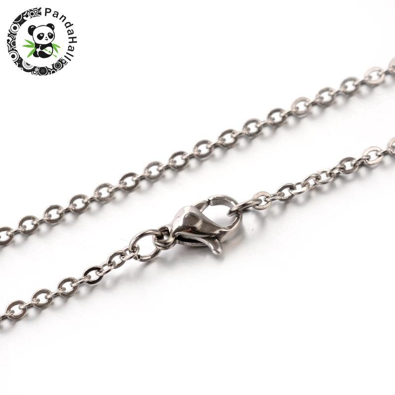 flat silver long sterling necklace chain cable