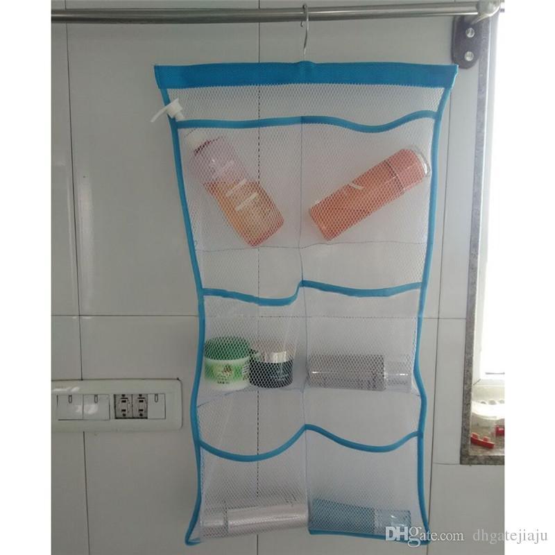 6 Storage Pockets Hanging Caddy Bathroom Accessories Green Mesh Bath ...